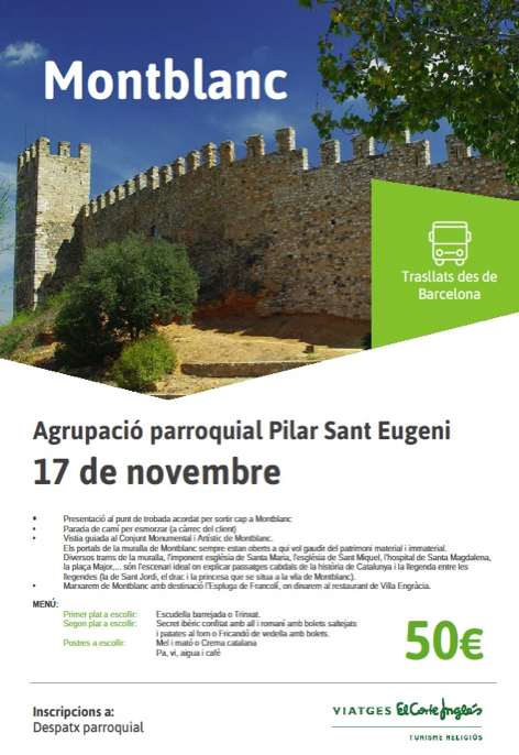 Detalles de la excursión a Montblanc organizada por la Agrupación Parroquial Pilar Sant Eugeni