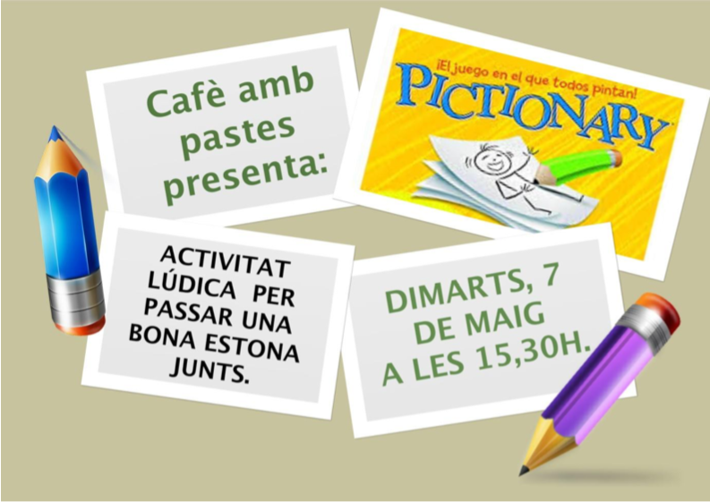 cafe amb pastes i pictionary